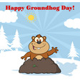 happy marmot waving in groundhog day vector image
