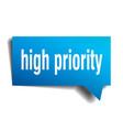 high priority blue 3d speech bubble vector image vector image