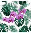 jungle green tropical leaf orchid flowers and vector image