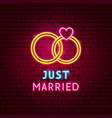just married neon label vector image vector image
