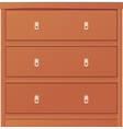 Light-colored simple chest of drawers vector image