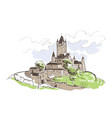 line art isolated reichsburg castle sketch vector image