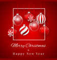 luxury christmas design with red christmas balls vector image vector image