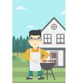 Man cooking meat on barbecue grill vector image vector image