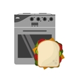 oven and sandwich icon vector image vector image