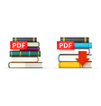 PDF books stacks icons vector image