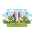 people in the park vector image
