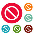 prohibition sign or no sign icons circle set vector image vector image