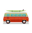 retro travel red van icon in vector image vector image