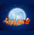 santa claus rides reindeer sleigh against a full m vector image vector image