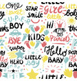 seamless baby pattern with words and inscriptions vector image vector image