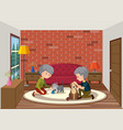 senior couple playing with dog vector image