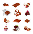 set a chocolate products various pastry sweets vector image