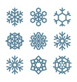set nine snowflakes thin line ftat design vector image vector image