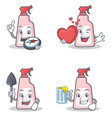 Set of cleaner character with explorer heart miner vector image