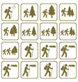 set of hiking icons isolated vector image vector image