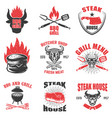 set of steak house emblems on white background vector image vector image