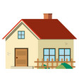 single house with red roof and wooden fence vector image vector image