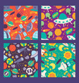 space seamless pattern planets moon satellites vector image vector image