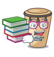 student with book conga mascot cartoon style vector image