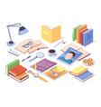 table with books and opened magazine literature vector image