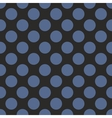 Tile pattern with blue polka dots on black vector image vector image