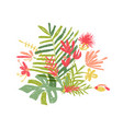 tropical hand drawn leaf tropic jungle paradise vector image vector image
