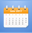 usa calendar for june 2017 week starts on sunday vector image vector image