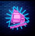 vintage bus transportation emblem glowing neon vector image vector image