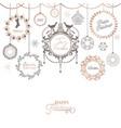 vintage christmas wreath design winter holiday vector image