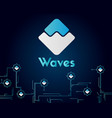 waves blockchain circuit network style background vector image
