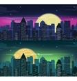 Urban night city skyline in moonlight vector image