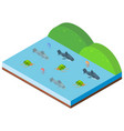 3d design for ocean scene with sea animals vector image vector image
