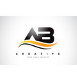 ab a b swoosh letter logo design with modern vector image vector image