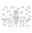 businessman and money rain coloring book vector image
