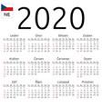 calendar 2020 czech sunday vector image vector image