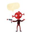 cartoon alien with ray gun with speech bubble vector image