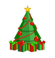 cartoon christmas tree on white backdrop vector image