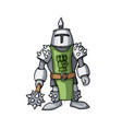 cartoon medieval confident knight with mace vector image
