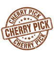 cherry pick brown grunge stamp vector image vector image