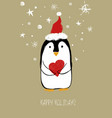 christmas greeting card with cute penguin vector image