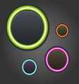 Colorful glowing buttons on dark background vector image vector image