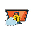 computer with padlock and cloud icon vector image vector image