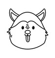 cute dog siberian head on white background thick vector image vector image