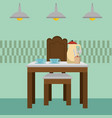 dinning room table kitchen scene vector image