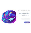e-learning isometric 3d landing page vector image vector image