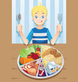 eating boy vector image vector image