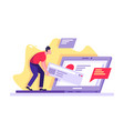 flat young man with laptop working on site drag vector image vector image