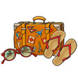 flip flops sunglasses suitcase with tourist vector image vector image