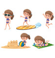 girl with beach activity vector image